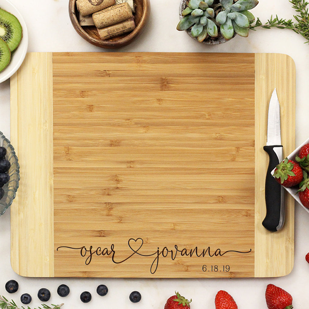 "Personalized Wedding Cutting Board, Customized Cutting Board, Custom Cutting Board ""Oscar Jovanna"""