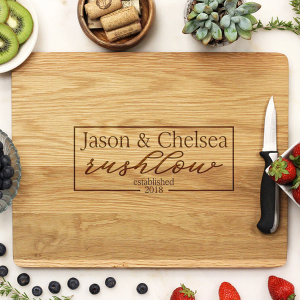 white oak cutting board, custom engraved cutting board, personalized cutting board