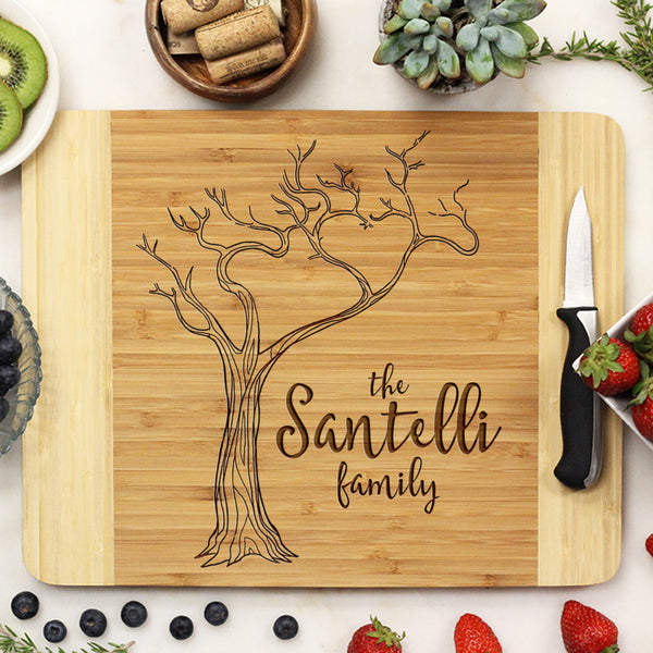"Custom Tree Cutting Board, Custom Engraved Cutting Board with Tree, Personalized Cutting Board ""Santelli Family"""