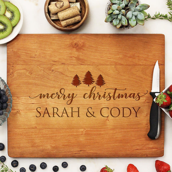 cherry christmas cutting board, custom engraved cutting board, personalized cutting board
