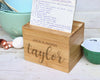 "Custom Engraved Recipe Box, Personalized Recipe Box, ""Taylor"""