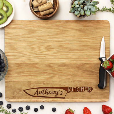 "Chef Knife Cutting Board, Custom Engraved Cutting Board, Personalized Cutting Board ""Anthony's Kitchen"""
