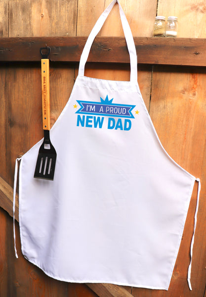 "Chef Apron, Custom Apron, Personalized Apron ""Proud New Dad"""