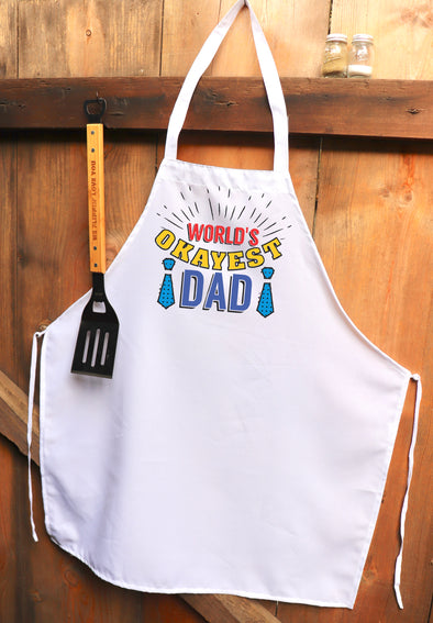 "Chef Apron, Custom Apron, Personalized Apron ""World's Okayest Dad"""