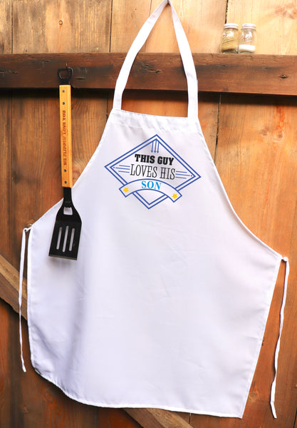 "Chef Apron, Custom Apron, Personalized Apron ""This Guy Loves His Son"""