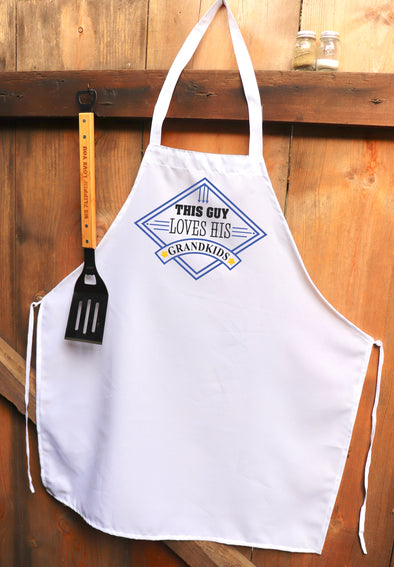 "Chef Apron, Custom Apron, Personalized Apron ""This Guy Loves His Grandkids"""