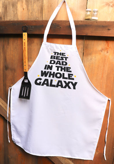 "Chef Apron, Custom Apron, Personalized Apron ""Best Dad in the Galaxy"""