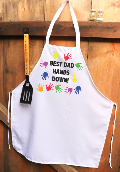"Chef Apron, Custom Apron, Personalized Apron ""Best Dad Hands Down"""