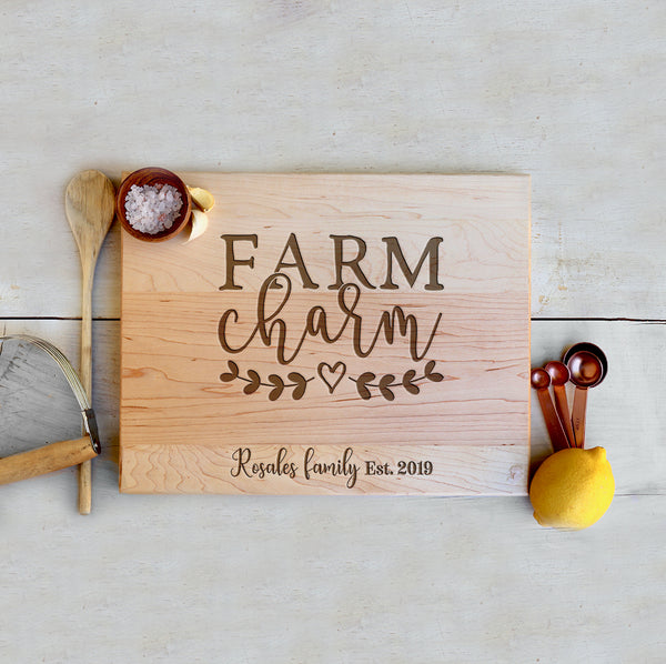 "Custom Farm House Cutting Board ""Rosales Family"""