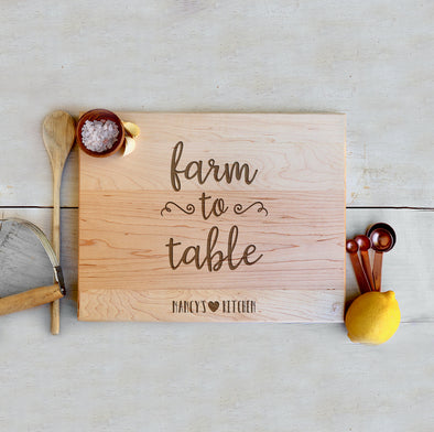 "Custom Farmhouse Cutting Board ""Farm to Table"""