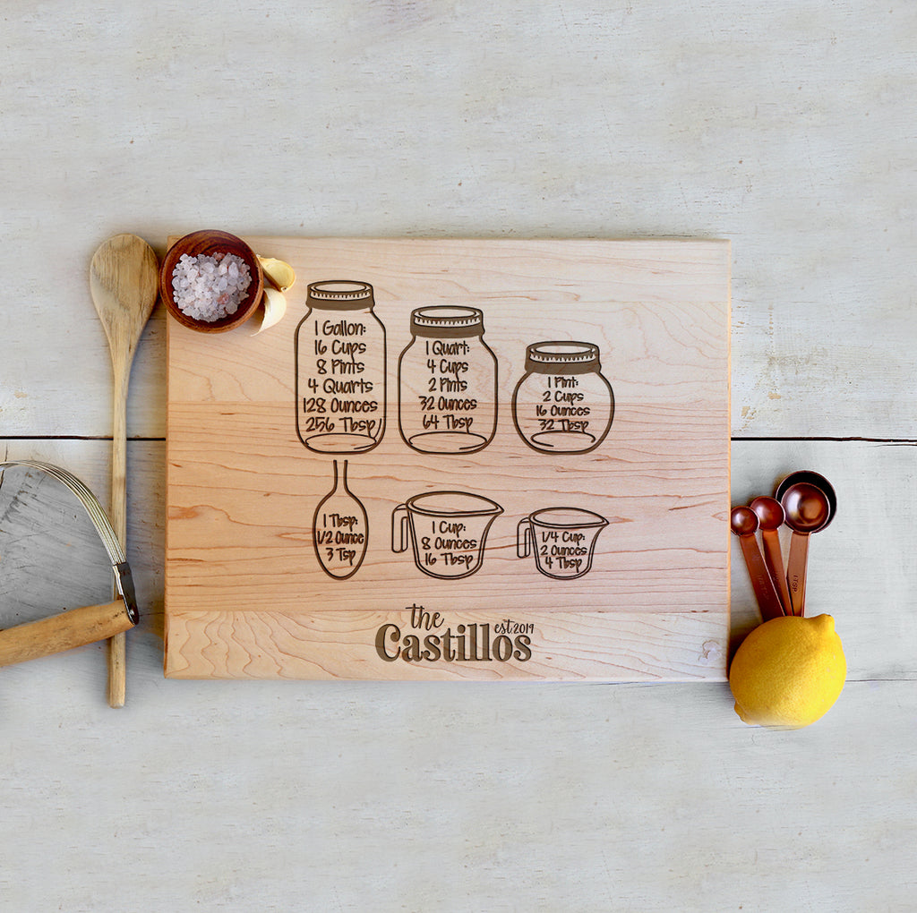 "Custom Farmhouse Cutting Board ""The Castillos"" Measuring Cups"