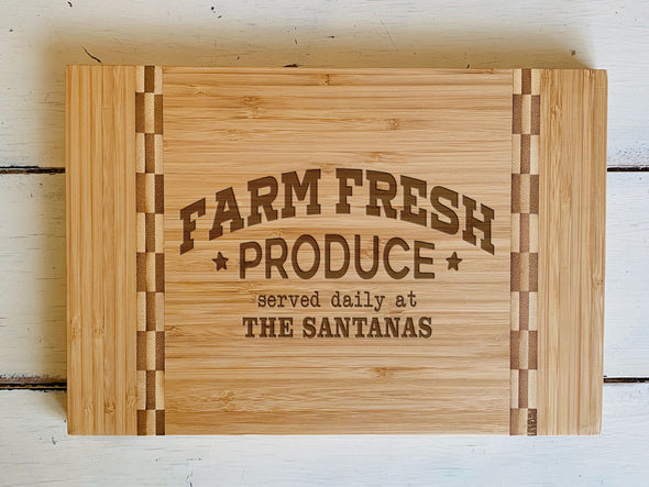 "Custom Farmhouse Cutting Board ""The Santanas"""