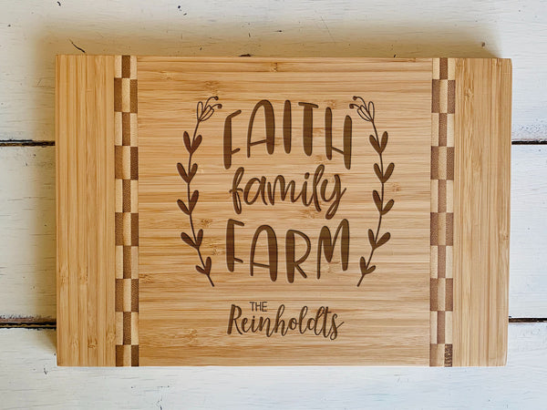 "Custom Farmhouse Cutting Board ""Faith Family Farm"""
