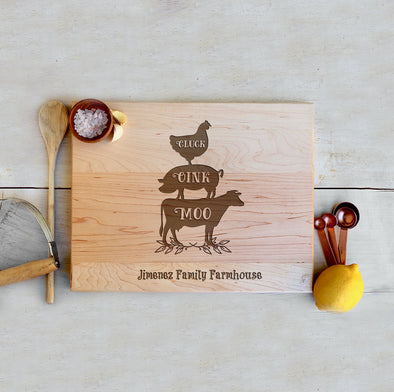 "Custom Farmhouse Cutting Board ""Jimenez Family Farmhouse"""