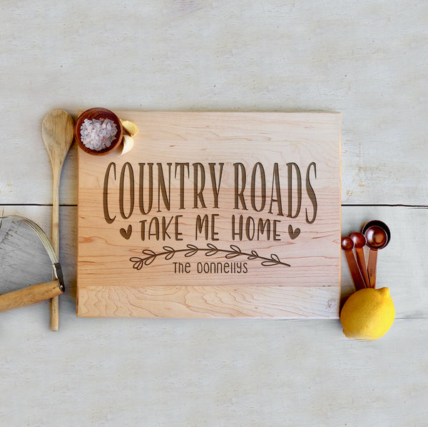"Custom Farmhouse Cutting Board ""Country Roads"""