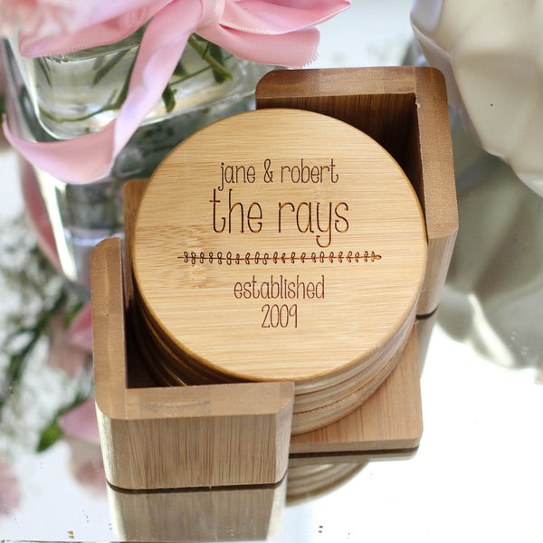 "Personalized Engraved Bamboo Coaster Set ""Rays"""