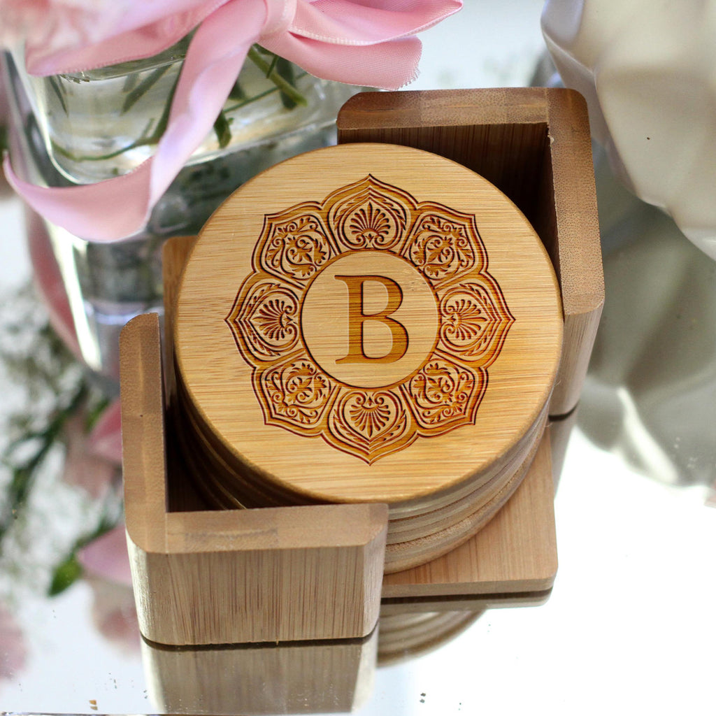 "Personalized Engraved Bamboo Coaster Set ""B"" Monogram"