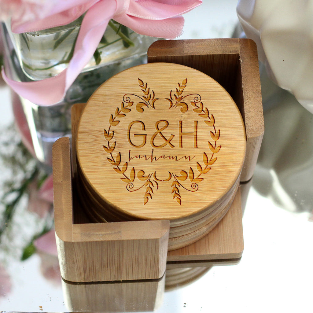 "Personalized Engraved Bamboo Coaster Set ""Barhamn Floral Initials"""