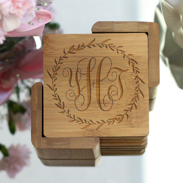 "Personalized Engraved Bamboo Coaster Set ""YHJ"" Monogram Wreath"