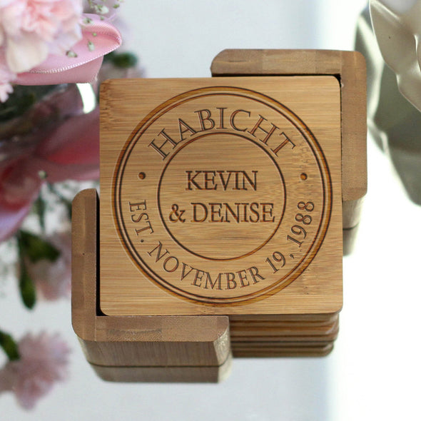 "Personalized Engraved Bamboo Coaster Set ""Kevin & Denise"""