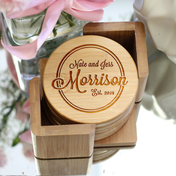 "Personalized Engraved Bamboo Coaster Set ""Morrison"""