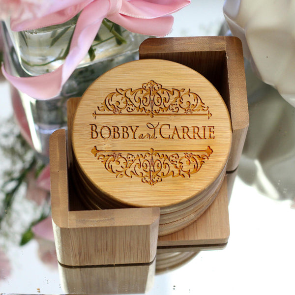 "Personalized Engraved Bamboo Coaster Set ""Damask"""