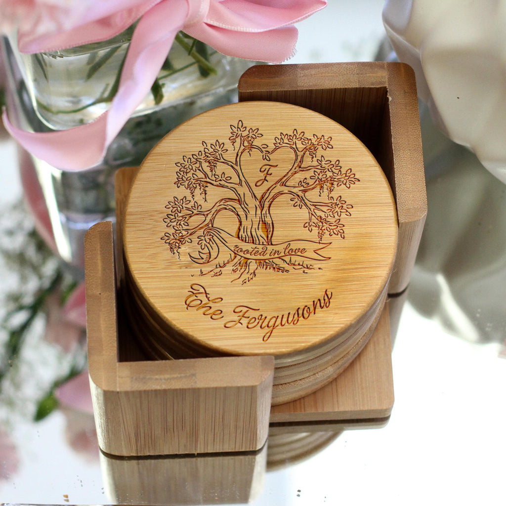 "Personalized Engraved Bamboo Coaster Set ""Ferguson Tree"""