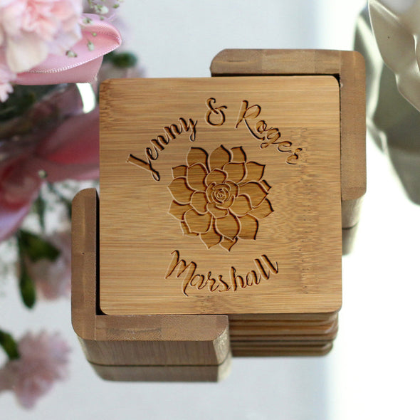 "Personalized Engraved Bamboo Coaster Set ""Jenny Roger Succulent"""