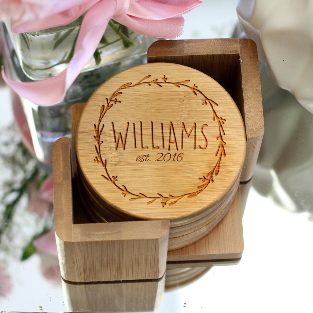 "Personalized Engraved Bamboo Coaster Set ""Williams Personalized Engraved Bamboo Wreath"""