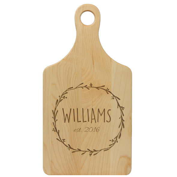 "Paddle Cutting Board ""Williams Wreath"""