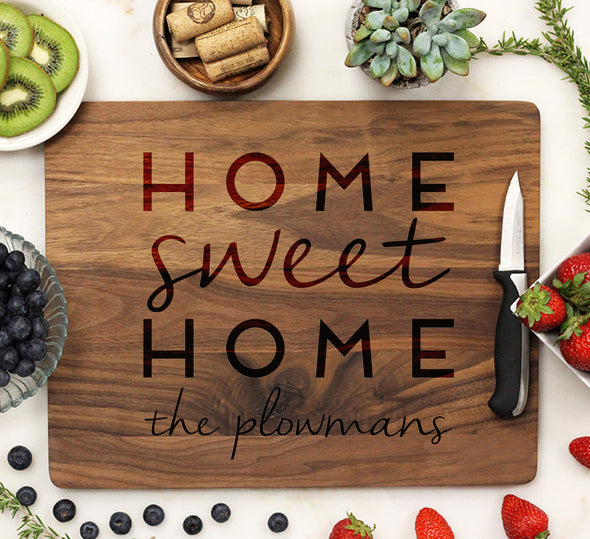 "Personalized Closing Gift Cutting Board ""Home Sweet Home Plowmans"""