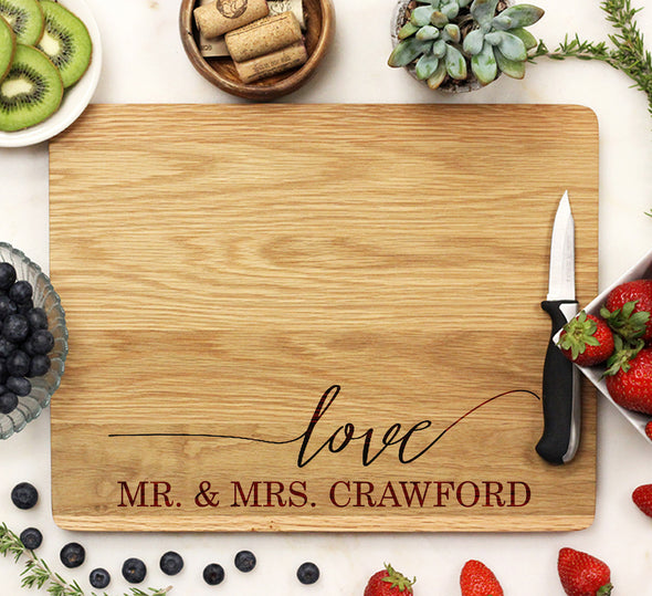 "Cutting Board ""Love Mr Mrs Crawford"""