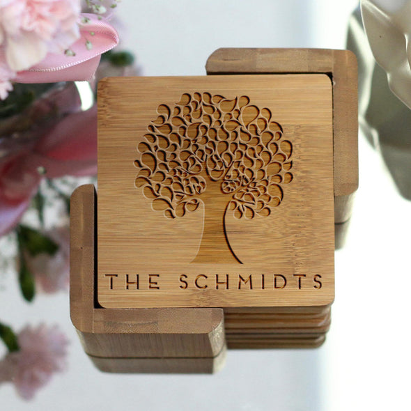 "Personalized Engraved Bamboo Coaster Set ""Schmidt Tree"""