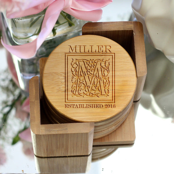 "Personalized Engraved Bamboo Coaster Set ""Miller Floral Initial"""