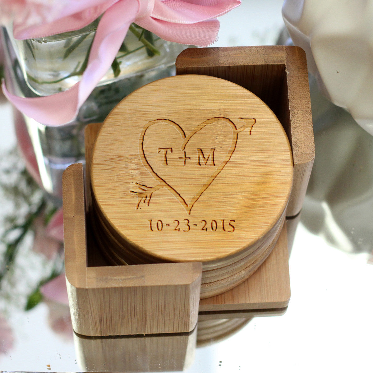 Personalized Engraved Bamboo Coaster Set Rustic Heart Arrow