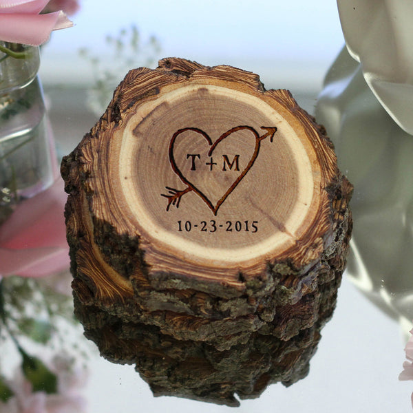"Personalized Engraved Tree Bark Coaster Set - ""Rustic Heart"""