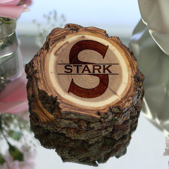 "Personalized Engraved Tree Bark Coaster Set - ""Stark Initial through Name"""