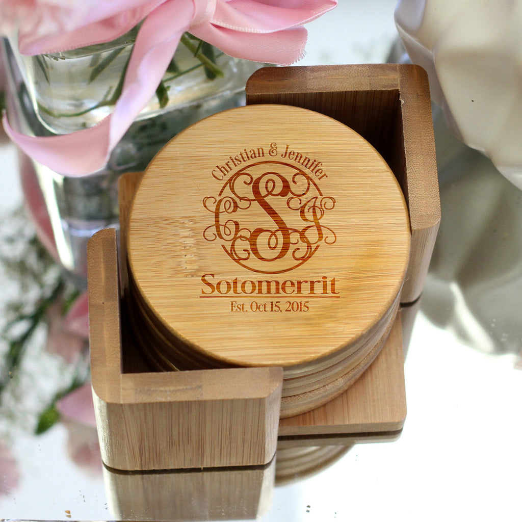 "Personalized Engraved Bamboo Coaster Set ""Fancy Monogram Sotomerrit"""