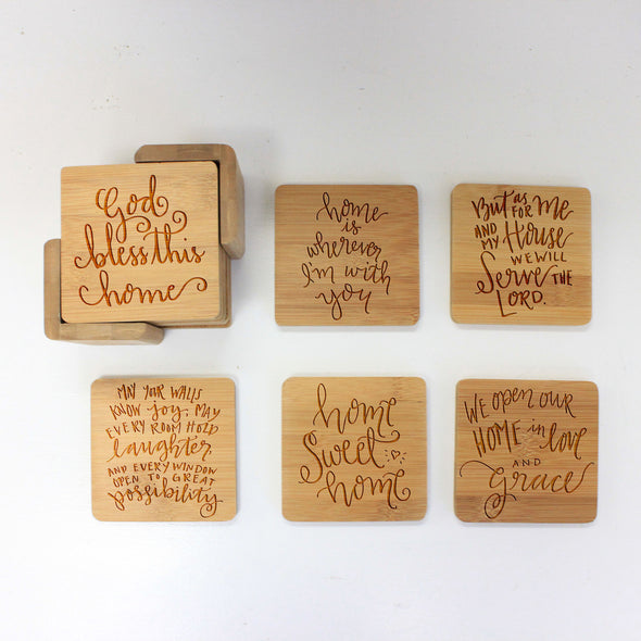 "Engraved Bamboo Coaster Set ""Home Sayings"""