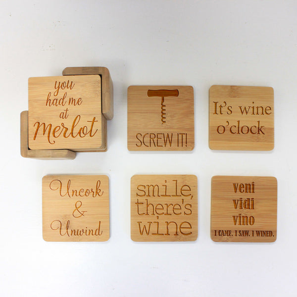 "Engraved Bamboo Coaster Set ""Vino Sayings"""