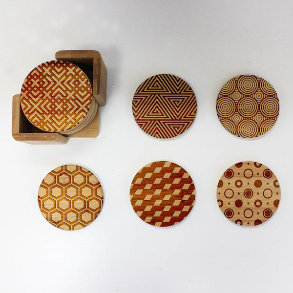 "Engraved Bamboo Coaster Set ""Geometric Shapes"""