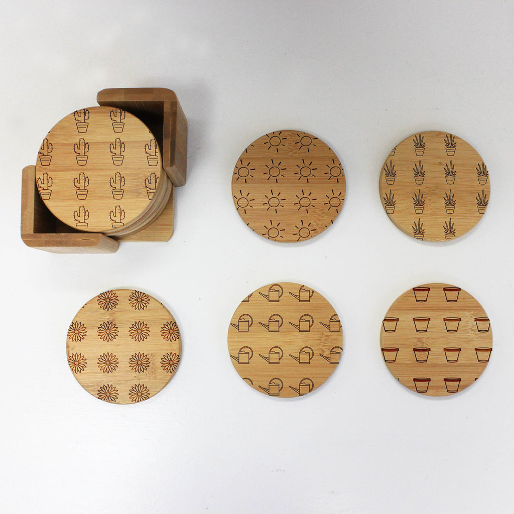 "Engraved Bamboo Coaster Set ""Cactus and Flower Designs"""