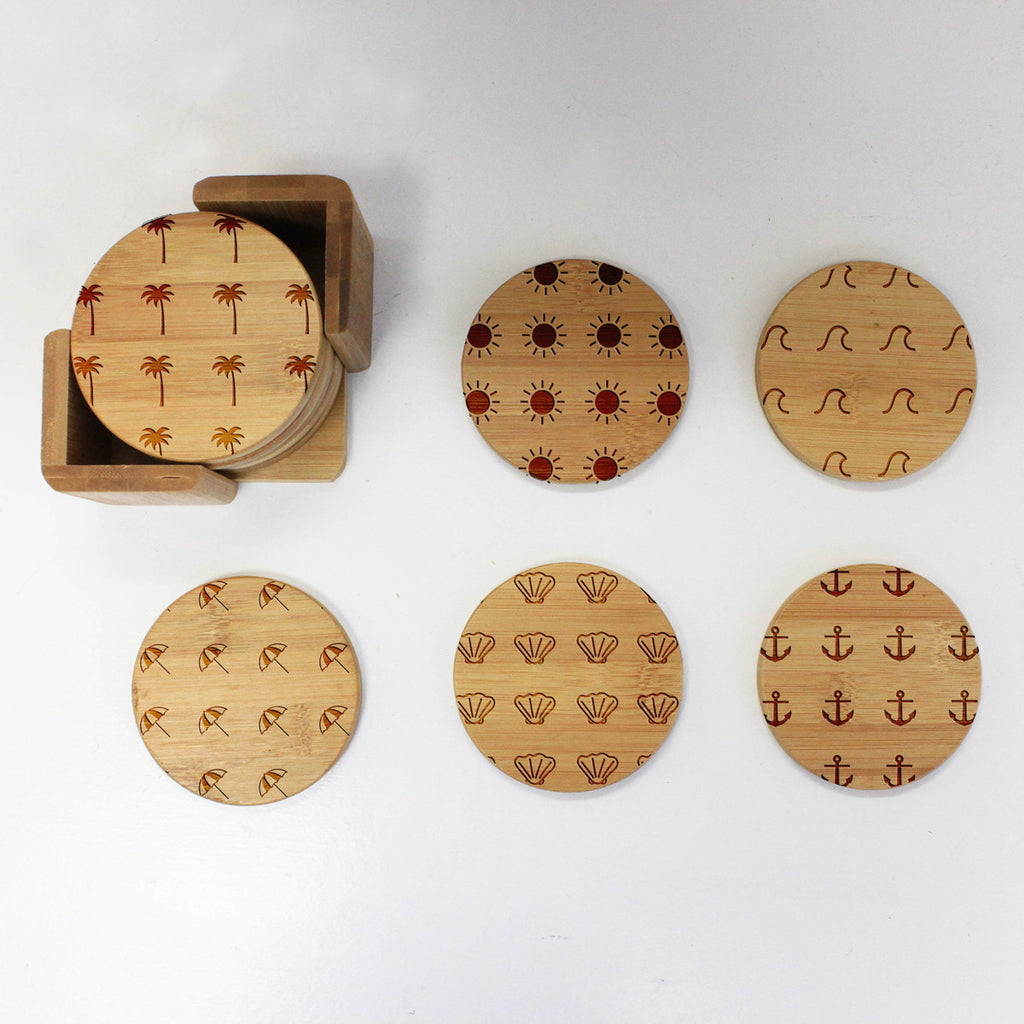 "Engraved Bamboo Coaster Set ""Beach Icon Patterns"""