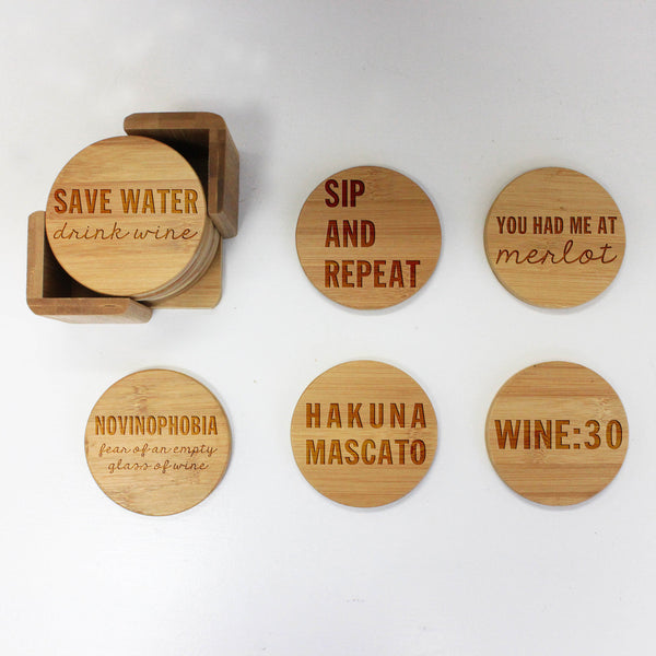 "Engraved Bamboo Coaster Set ""Save Water Drink Wine"""