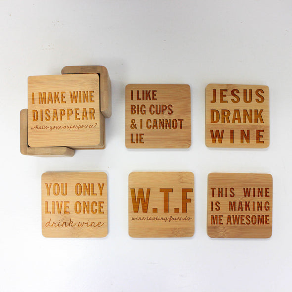 "Engraved Bamboo Coaster Set ""Jesus Drank Wine"""