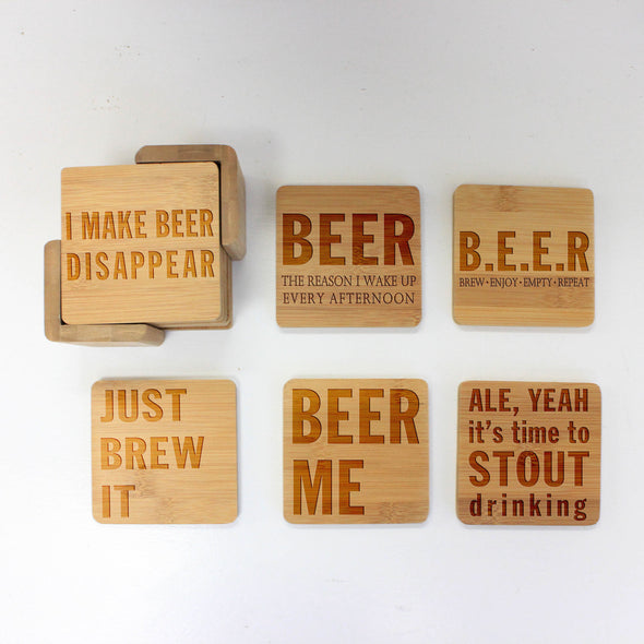 "Engraved Bamboo Coaster Set ""I Make Beer Disappear"""
