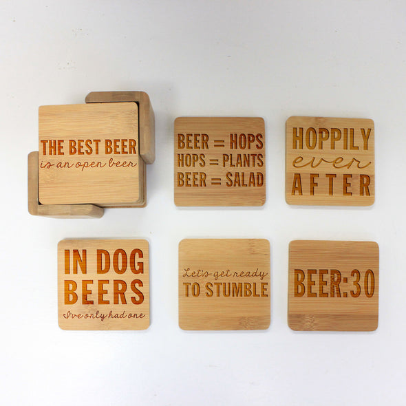 "Engraved Bamboo Coaster Set ""Hoppily Ever After"""