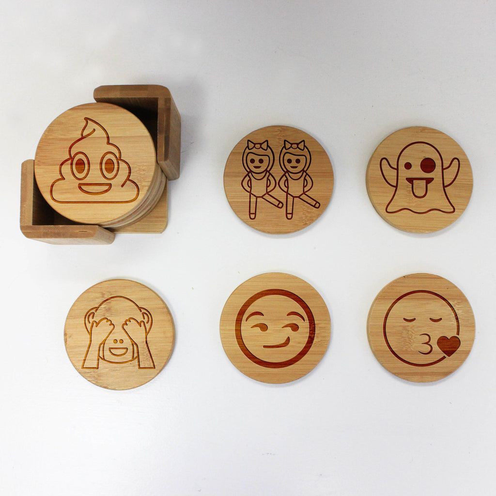 "Engraved Bamboo Coaster Set ""Emoji Icons"""