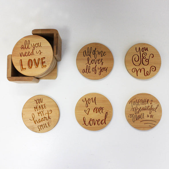 "Engraved Bamboo Coaster Set ""Love Sayings Calligraphy"""