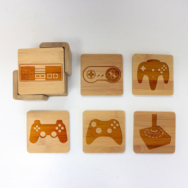 "Engraved Bamboo Coaster Set ""Video Game Controls"""